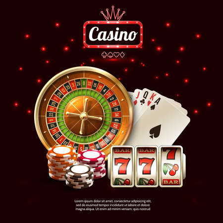 Glowing casino realistic composition with golden russian roulette cards and slot machines vector illustration