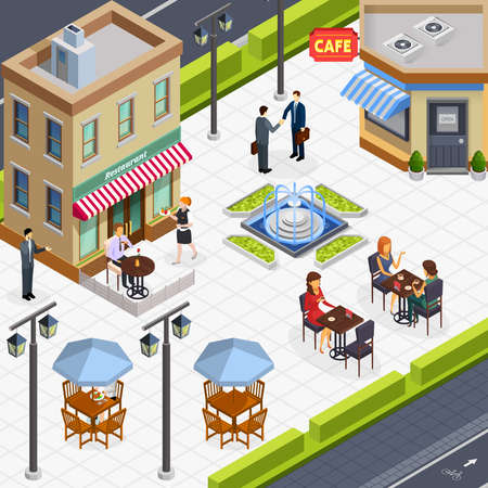 Isometric business lunch people composition with a few tables in the outdoor caf vector illustration
