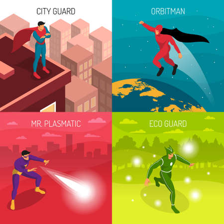 Four superheroes with various powers isometric 2x2 design concept isolated on colorful background 3d vector illustration