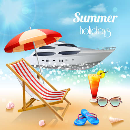 Realistic summer holidays composition sunbed and attributes for swimming against a beautiful expensive boat vector illustration