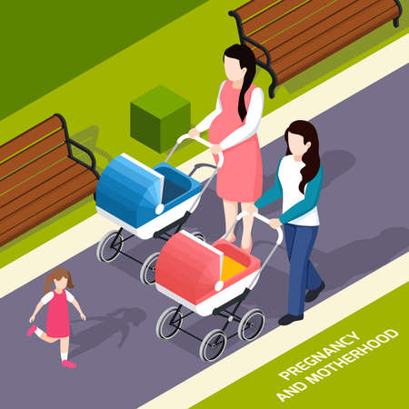Pregnancy and motherhood isometric composition young mothers with prams during walk in park vector illustration