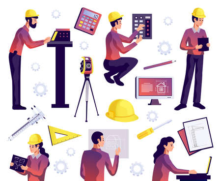 Engineering isolated set of civil construction workers architects and surveyors with special equipment isolated vector illustration Vektoros illusztráció