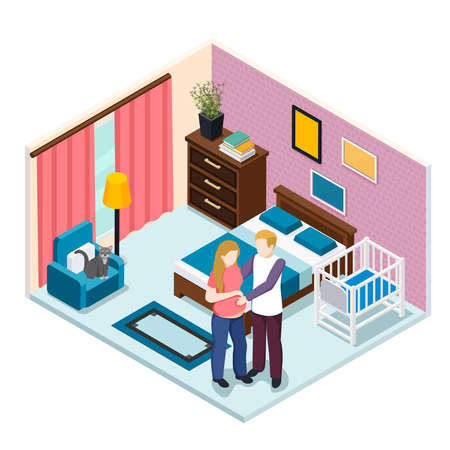 Expectation baby isometric composition, young man hugging pregnant woman in bedroom with child cot vector illustration Vektorové ilustrace