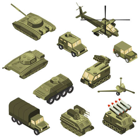 Military armored transportation cargo personnel carrier fighting land vehicles and helicopter isometric icons collection isolated vector illustration Ilustracje wektorowe