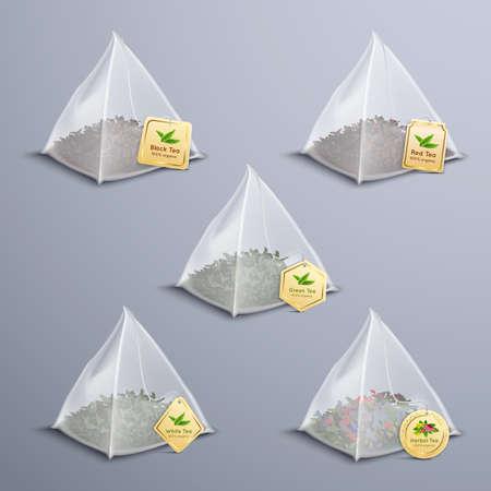 Tea pyramidal bags realistic set with black green white red herbal variety of tea isolated vector illustration Vektorgrafik