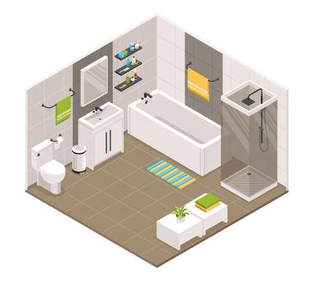 Bathroom interior isometric view with bath shower cabine cubicle toilet sink units towel holders accessories vector illustration Ilustración de vector