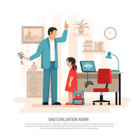Parenting child rearing flat composition poster with dad and schoolgirl discussing primary school test results vector illustration