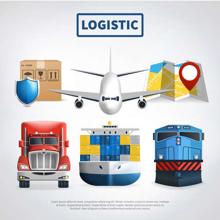 Logistic colored poster with means of transport to deliver goods and big headline vector illustration
