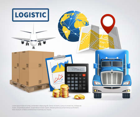Logistic colored poster or flyer with vehicles for shipping delivery and transportation vector illustration Vettoriali