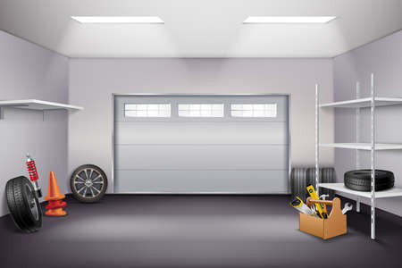 Garage interior realistic composition with tyres and instruments realistic vector illustration Vektorové ilustrace