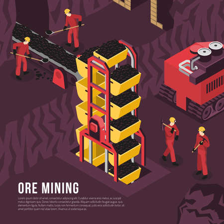 Subsurface underground mining process isometric composition poster with ore output transportation conveyor and boring machine vector illustration Vetores