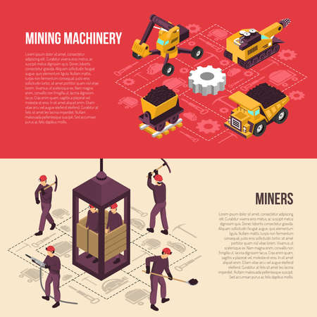 Coal mining industrial workers equipment and machinery isometric horizontal banners set with flowchart elements isolated vector illustration