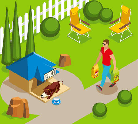 Ordinary life of dog and owner, canine sleep in garden, man with dry feed isometric vector illustration