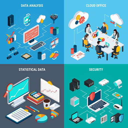 Big data 2x2 design concept set of cloud office data analysis security and statistic square icons isometric vector illustration Vecteurs