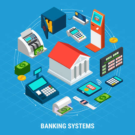 Banking systems isometric round composition on blue background with office building, professional equipment, payment terminals vector illustration