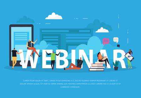 E-learning webinar flat landing page on blue background with human characters, clouds and bubbles vector illustration