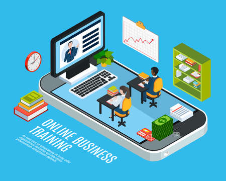 Colored 3d webinar isometric concept with online business training description or headline vector illustration