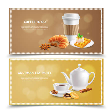 Two horizontal banners with coffee and various desserts for breakfast realistic isolated vector illustration