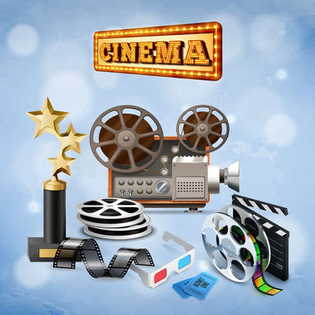 Various cinema objects with camcorder trophy reels tickets and 3d glasses on blue background with bokeh realistic vector illustration