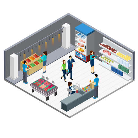 Grocery store isometric interior with customers came for shopping and shop staff 3d vector illustration