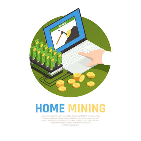 Blockchain cryptocurrency isometric composition with editable text and images of mining farm laptop computer and coins vector illustration