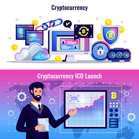 Cryptocurrency horizontal banners with blockchain technology icons and man demonstrating graph of ICO launch flat vector illustration 벡터 (일러스트)