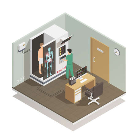 Advance electronic robotic system for future automated diagnostic tasks isometric composition with medical technician patient vector illustration