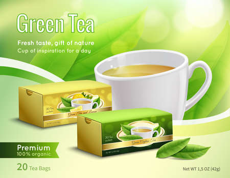 Green tea advertising composition on blurred background with carton packaging, leaves, cup with drink realistic vector illustration
