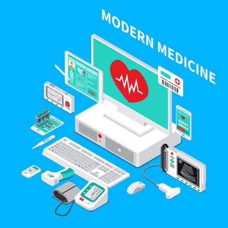 Medical gadgets including pocket cardiograph, handheld ultrasound scanner, glucometer, thermometer, isometric composition on blue background vector illustration