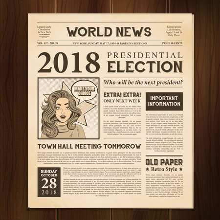 Newspaper page 2018 presidential election world news article realistic vintage style against dark wood background vector illustration Ilustración de vector