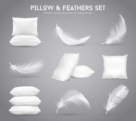Fluffy feathers and white pillows isolated set in realistic style monochrome vector illustration