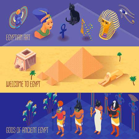 Isometric horizontal banners set with ancient egyptian gods and art 3d isolated vector illustration Vektoros illusztráció