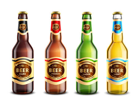 Set of realistic glass beer bottles with stickers and aluminum lids isolated on white background vector illustration