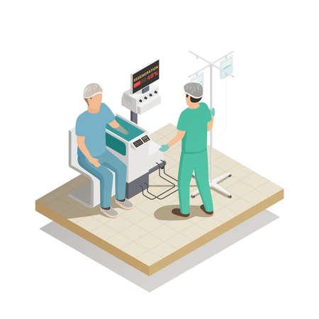 Organs repair and regeneration tissue engineering future medical technologies isometric composition with patient arm treatment vector illustration Vektoros illusztráció