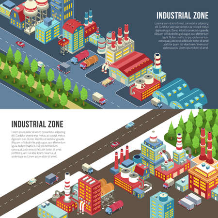 Industrial zone near roadway horizontal banners with engineering plants, manufactures with pipes, trucks isolated vector illustration