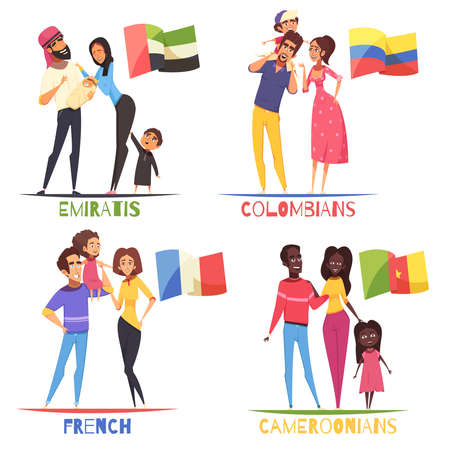 Families with children of various nationalities french, colombians, cameroonians, arabs from emirates, design concept isolated vector illustration