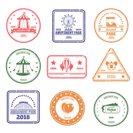 Amusement park stamps collection of isolated postal stamps of different colour with attraction and circus images vector illustration