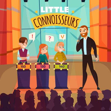 Kids quiz TV show with little connoiseurs symbols flat vector illustration