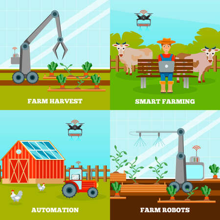 Smart farming 2x2 design concept with farm robots for growing vegetables and harvesting with wireless control flat vector illustration