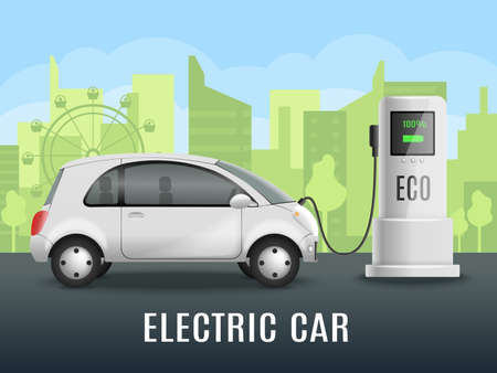 Electric car charging realistic composition with electrically powered automobile near eco friendly charging point with outdoor scenery vector illustration
