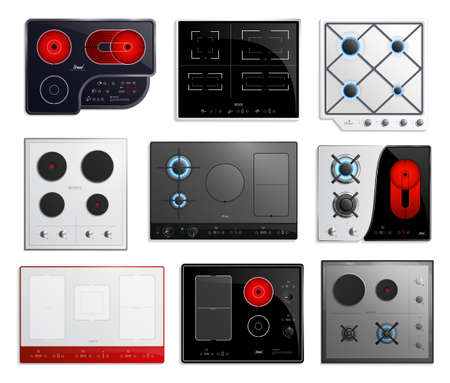 Colored and realistic hob surfaces icon set with different types of hob sizes and power vector illustration
