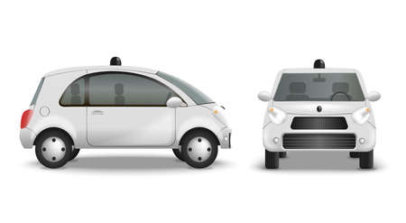 Autonomous car realistic set with front and side view of modern radio controlled automobile with shadows vector illustration