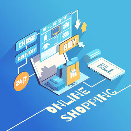 Online shopping isomeric 3d flowchart composition with products delivery and secure electronic payment options choice vector illustration