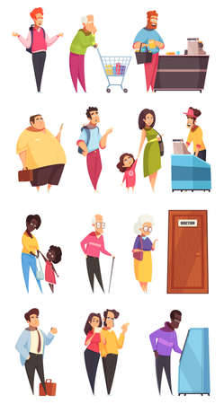 People characters in queues in bank supermarket at doctors office door 4 isolated lines vector illustration Vettoriali
