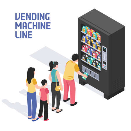 People lining up in front of vending machine selling snacks beverages refreshing summer drinks isometric vector illustration