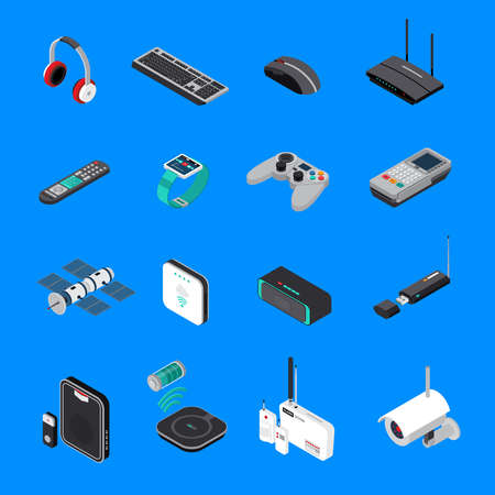 Wireless electronic devices including computer equipment, satellite, battery charger, isometric icons isolated on blue background vector illustration