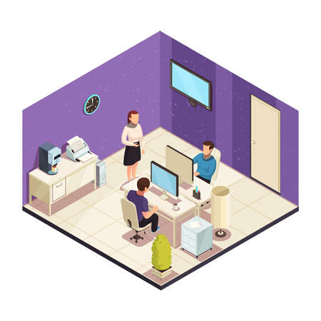 Office staff workplace isomeric composition with woman colleague talking to coworkers men working at computer vector illustration