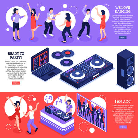 DJ music 3 horizontal web page banners with disco dancing party equipment installations accessories isolated vector illustration