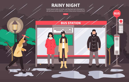 Bad weather transportation web page poster with people waiting at bus stop on rainy night vector illustration
