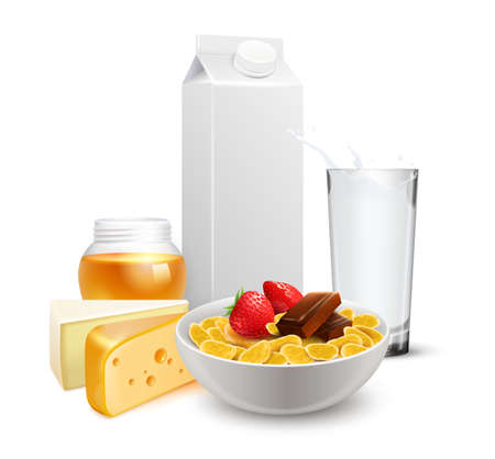 Breakfast with cereals in bowl, milk glass, cheese and jar of honey realistic composition vector illustration Ilustração Vetorial